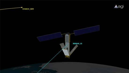 The Iridium 33 and Cosmos 2251 communications satellites collided over northern Siberia. The impact between the Iridium Satellite and the 16-year-old satellite launched by the Russian government occurred in February 2009.