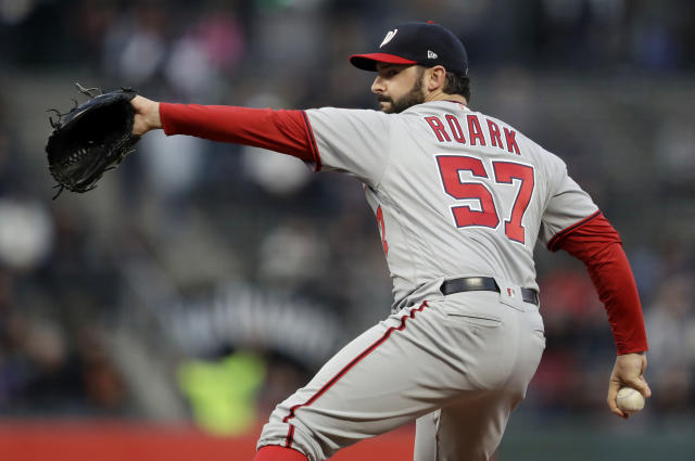 Washington Nationals starting pitcher Tanner Roark throws to the San Francisco Giants during the first inning of a baseball game Tuesday, April 24, 2018, in San Francisco. (AP Photo/Marcio Jose Sanchez)