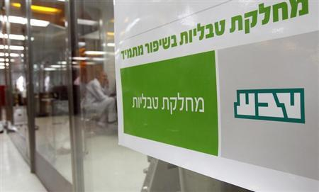 A sign bearing the logo of Teva is seen in Jerusalem