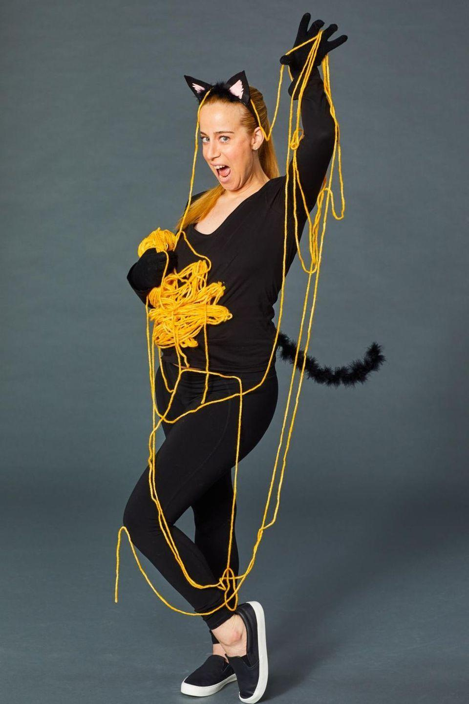 """<p>If you love cats, but not the sexy kitty look, this DIY Halloween costume is the perfect mommy-approved option. This low-maintenance costume makes it easy to put together since all you need is a black <a href=""""https://www.amazon.com/Hanes-Womens-Sport-Performance-Sleeve/dp/B01M1P3SZG/?tag=syn-yahoo-20&ascsubtag=%5Bartid%7C2141.g.33469434%5Bsrc%7Cyahoo-us"""" rel=""""nofollow noopener"""" target=""""_blank"""" data-ylk=""""slk:long-sleeved top"""" class=""""link rapid-noclick-resp"""">long-sleeved top</a>, <a href=""""https://www.amazon.com/90-Degree-Reflex-Interlink-Leggings/dp/B07N1YX9LF/?tag=syn-yahoo-20&ascsubtag=%5Bartid%7C2141.g.33469434%5Bsrc%7Cyahoo-us"""" rel=""""nofollow noopener"""" target=""""_blank"""" data-ylk=""""slk:leggings"""" class=""""link rapid-noclick-resp"""">leggings</a>, and <a href=""""https://www.amazon.com/Seeksmile-Spandex-Gloves-Available-Size/dp/B00X5FAF9I/?tag=syn-yahoo-20&ascsubtag=%5Bartid%7C2141.g.33469434%5Bsrc%7Cyahoo-us"""" rel=""""nofollow noopener"""" target=""""_blank"""" data-ylk=""""slk:gloves"""" class=""""link rapid-noclick-resp"""">gloves</a>. Tie it all together with a few <a href=""""https://www.amazon.com/Black-Cat-Costume-Kids-Adult/dp/B07D6YMWM3/?tag=syn-yahoo-20&ascsubtag=%5Bartid%7C2141.g.33469434%5Bsrc%7Cyahoo-us"""" rel=""""nofollow noopener"""" target=""""_blank"""" data-ylk=""""slk:feline accessories"""" class=""""link rapid-noclick-resp"""">feline accessories</a> and you're done!</p><p><a href=""""https://www.goodhousekeeping.com/holidays/halloween-ideas/g1709/homemade-halloween-costumes/?slide=8"""" rel=""""nofollow noopener"""" target=""""_blank"""" data-ylk=""""slk:Get the tutorial at Good Housekeeping »"""" class=""""link rapid-noclick-resp""""><em>Get the tutorial at Good Housekeeping »</em></a></p>"""