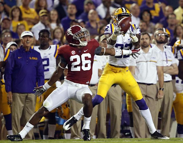 Alabama CB Marlon Humphrey (L) has a lot of good traits but can struggle with the long ball. (AP)