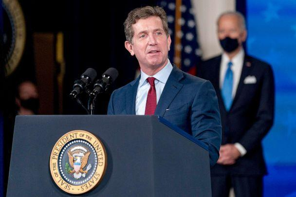 PHOTO: Johnson and Johnson Chairman and CEO Alex Gorsky speaks at an event in the South Court Auditorium in the Eisenhower Executive Office Building on the White House Campus,  March 10, 2021. (Andrew Harnik/AP)