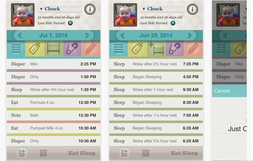 <p>Eat Sleep is an app that helps you track your baby's seating, sleeping, and nappy habits. It's free, too [Photo Eat Sleep/Apple Store] </p>