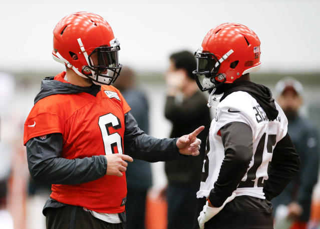 Cleveland Browns quarterback Baker Mayfield, left, came to the defense of teammate Odell Beckham Jr. in a recent interview. (AP)