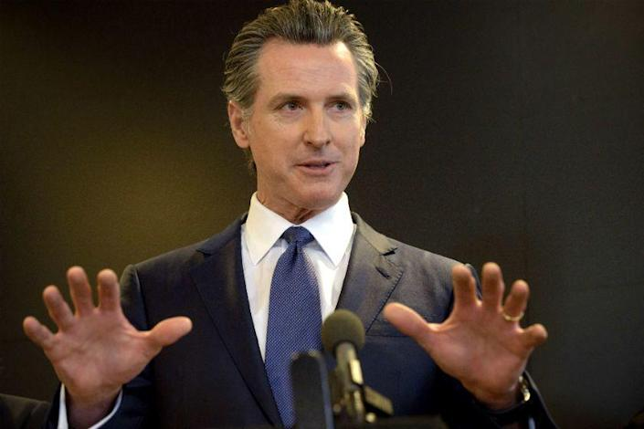 """If we're not vigilant, ... these numbers can start to tip back up,"" Gov. Gavin Newsom said Monday. <span class=""copyright"">(Associated Press)</span>"