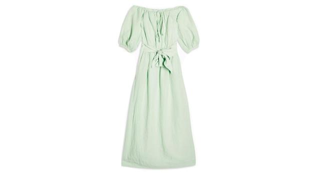Linen Blend Belted Bardot Midi Dress