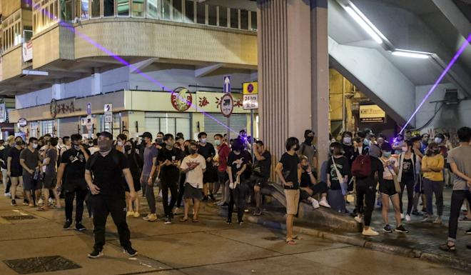 Protesters also gathered on Sham Shui Po on Monday night. Photo: Edmond So