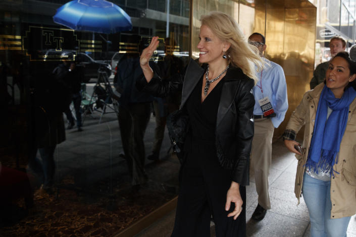 Kellyanne Conway, Trump's campaign manager, arrives at Trump Tower on Oct. 8, 2016. (Photo: Evan Vucci/AP)