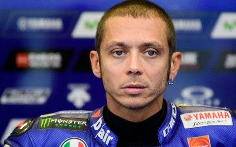 <span>There's a chance that Rossi will race just 22 days after breaking his leg in two places</span> <span>Credit: Fabrizio Petrangeli/AFP </span>