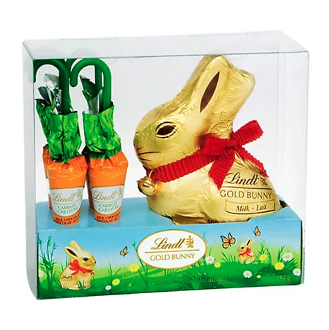 Lindt Easter Gold Bunny and Carrots. Image via Hudson's Bay.