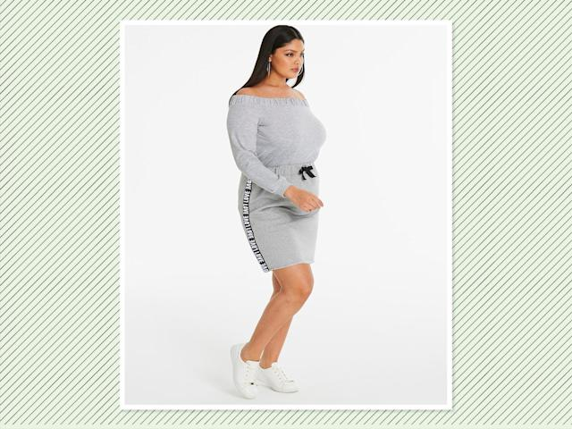"<p><a href=""https://www.simplybe.com/en-us/products/drawstring-waist-skirt/p/WZ614#v=color%3AWZ614_GREY%20MARL%7C"" rel=""nofollow noopener"" target=""_blank"" data-ylk=""slk:Drawstring Waist Skirt"" class=""link rapid-noclick-resp"">Drawstring Waist Skirt</a>, $37, and <a href=""https://www.simplybe.com/en-us/products/bardot-sweat-top/p/WZ616"" rel=""nofollow noopener"" target=""_blank"" data-ylk=""slk:Bardot Sweat Top"" class=""link rapid-noclick-resp"">Bardot Sweat Top</a>, $32, Simply Be (Photo: Simply Be) </p>"