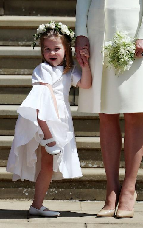 Princess Charlotte on the steps of St George's Chapel in Windsor Castle - Credit: Jane Barlow/PA