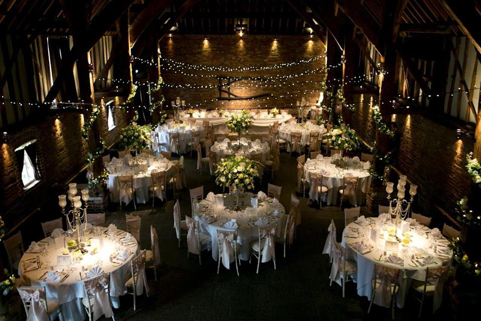"""<p>Weddings can be held at the Fathom Barn or outside in the Pavilion at this adorable Kent venue.</p><p>The Moat House is where the bridal party can get ready while the Heritage barn is where your guests will get the party started before you arrive. Those wanting a church ceremony can book a slot at St James' Church which is a short stroll from the Barns so all bases are covered here.</p><p>After a wedding feast, the Tithe Barn will be set up for the evening party and optional hog roasts, a BBQ, Mexican, Indian, Spanish or even a finger buffets to keep your guests full while the drinks are flowing.</p><p>Find out more <a href=""""https://www.coolingcastlebarn.com/"""" rel=""""nofollow noopener"""" target=""""_blank"""" data-ylk=""""slk:here"""" class=""""link rapid-noclick-resp"""">here</a>.</p>"""