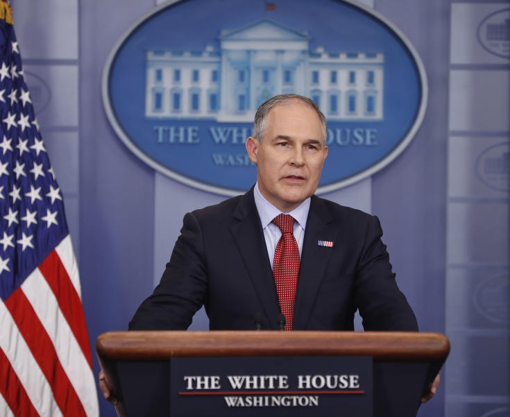 FILE -- In this June 2, 2017 file photo, EPA Administrator Scott Pruitt speaks to the media during the daily briefing in the Brady Press Briefing Room of the White House in Washington. California Attorney General Xavier Becerra sued the U.S. Environmental Protection Agency for failing to provide records he contends could show conflicts of interest by Pruitt on Friday, Aug. 11, 2017. (AP Photo/Pablo Martinez Monsivais,file)