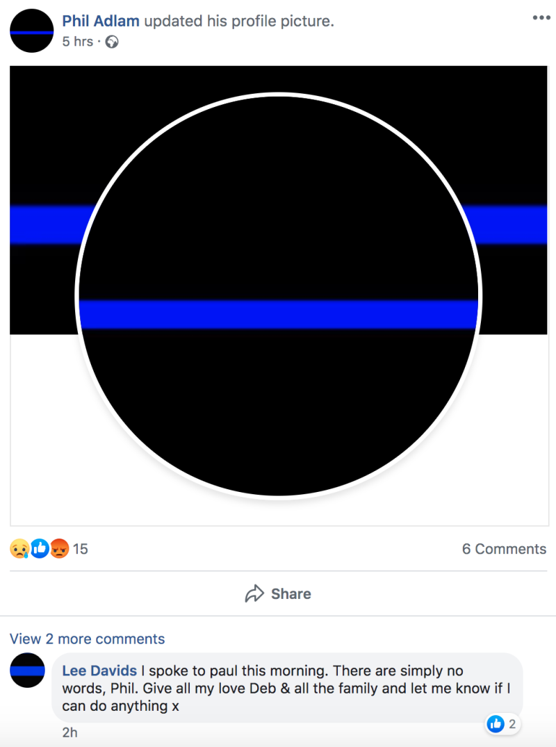 "Family and friends changed their profile pictures to a ""thin blue line"" in honour of PC Harper. (Facebook)"