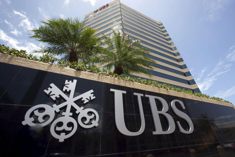 The logo of UBS is seen outside the building housing the headquarters of the Swiss bank in San Juan