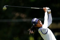 Celine Boutier, of France, hits from the tee on the ninth hole during the second round of play in the KPMG Women's PGA Championship golf tournament Friday, June 25, 2021, in Johns Creek, Ga. (AP Photo/John Bazemore)