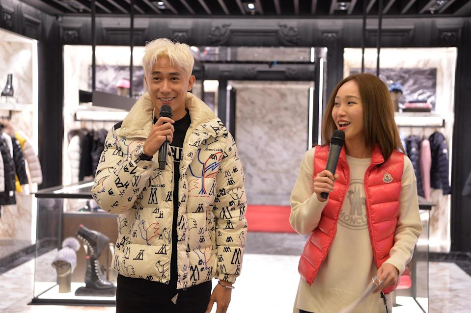 Desmond Tan and Constance Lau dressed in Moncler down jackets