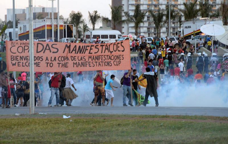The protesters were joined by indigenous people demanding land rights