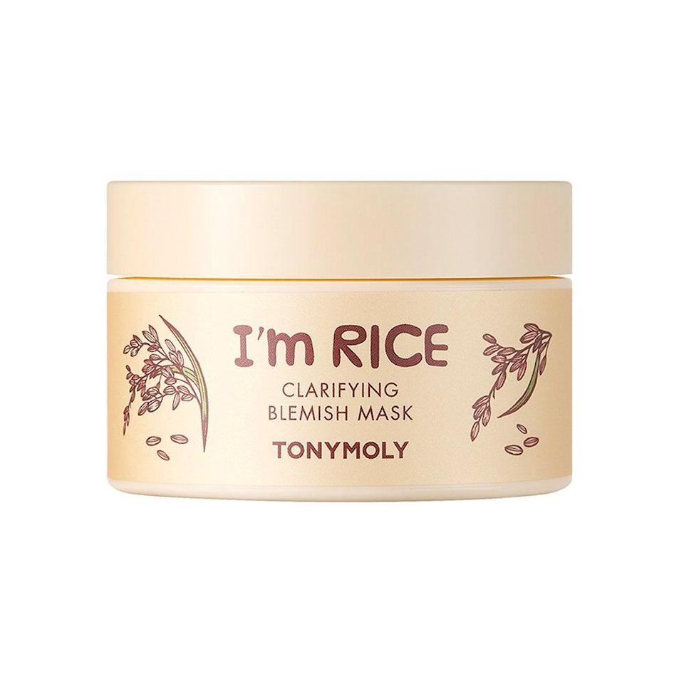 "Tonymoly's I'm Rice Clarifying Blemish Clay Mask has the most satisfying, pudding-like texture, but that doesn't even scratch the surface of <a href=""https://www.allure.com/gallery/best-face-masks?mbid=synd_yahoo_rss"" rel=""nofollow noopener"" target=""_blank"" data-ylk=""slk:this treatment"" class=""link rapid-noclick-resp"">this treatment</a>'s highlights. It's infused with fermented rice filtrate (also known as sake) to naturally exfoliate and soften skin, kaolin clay to clear pores and sweep dead skin cells away, and <a href=""https://www.ulprospector.com/en/na/PersonalCare/Detail/305/81384/Acnacidol-BG"" rel=""nofollow noopener"" target=""_blank"" data-ylk=""slk:Acnacidol BG"" class=""link rapid-noclick-resp"">Acnacidol BG</a> — a patented ingredient with antibacterial properties to curb excess sebum production. 10 to 15 minutes is all it takes to steer your skin on the path towards a baby-soft, brighter complexion. $15, Amazon. <a href=""https://www.amazon.com/TONYMOLY-Rice-Clarifying-Blemish-Clay/dp/B08N3LPV8B"" rel=""nofollow noopener"" target=""_blank"" data-ylk=""slk:Get it now!"" class=""link rapid-noclick-resp"">Get it now!</a>"