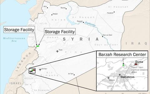 A map displaying areas targeted in U.S.-led airstrikes in Syria - Credit: Department of Defense