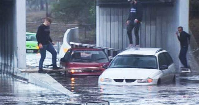 Cars were sent swimming after flash flooding in Adelaide. Photo: 7News