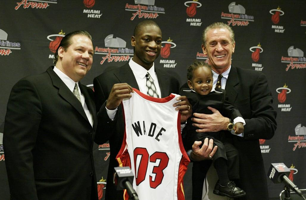 Randy Pfund, Dwyane Wade and Pat Riley attend press conference