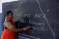 In India, students in the southern tech hub of Hyderabad trooped into class for the first time in 10 months