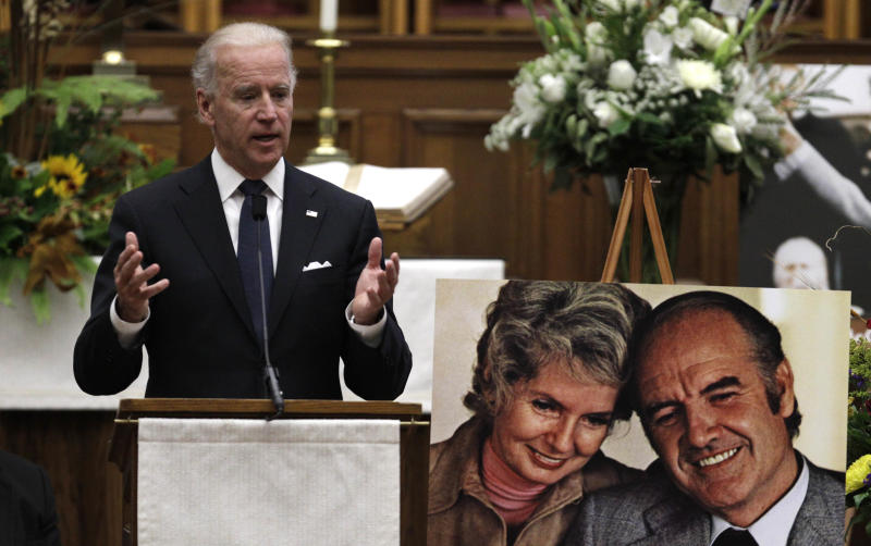 Vice President Joe Biden speaks during a prayer service for former Democratic U.S. senator and three-time presidential candidate George McGovern at the First United Methodist Church in Sioux Falls, S.D., Thursday, Oct. 25, 2012. McGovern died Sunday in his native South Dakota at age 90. (AP Photo/M. Spencer Green, Pool)