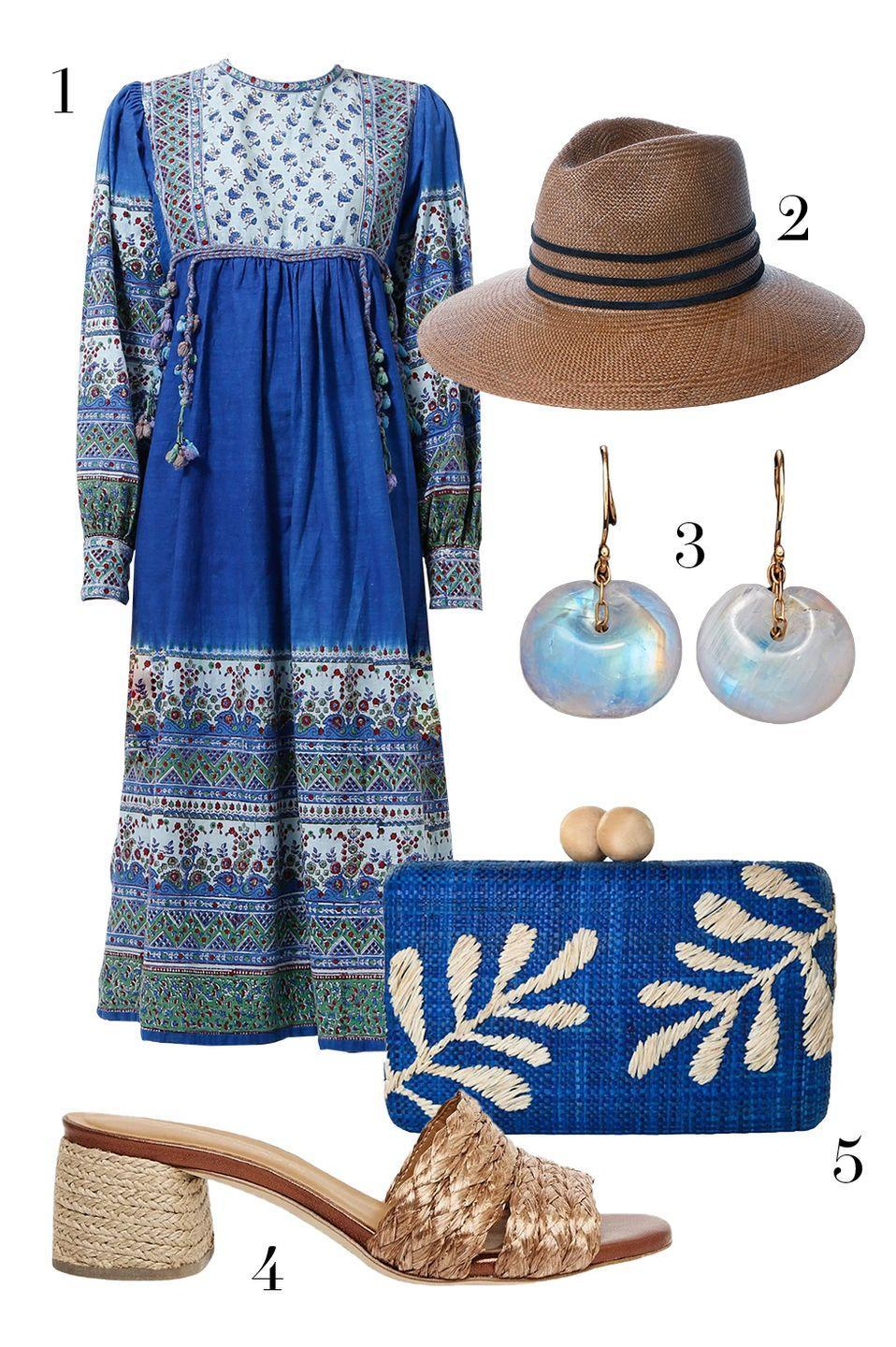 "<p>Vintage dresses are an easy way to instantly pull an ensemble together. Here, raffia accessories and a hat play up the ""I just found this at the market"" vibes. </p><ol><li><a href=""https://go.skimresources.com?id=74968X1525087&xs=1&url=https%3A%2F%2Fwww.resee.com%2Fclothes%2Fgraphic-tunic-with-tassels.html"" rel=""nofollow noopener"" target=""_blank"" data-ylk=""slk:World Treasures via ReSee"" class=""link rapid-noclick-resp"">World Treasures via ReSee</a> 2. <a href=""https://go.skimresources.com?id=74968X1525087&xs=1&url=https%3A%2F%2Fjanessaleone.com%2Fcollections%2Fall%2Fproducts%2Fjia"" rel=""nofollow noopener"" target=""_blank"" data-ylk=""slk:Janessa Leone"" class=""link rapid-noclick-resp"">Janessa Leone</a> 3. <a href=""https://go.skimresources.com?id=74968X1525087&xs=1&url=https%3A%2F%2Fwww.tenthousandthingsnyc.com%2Fcollections%2Fearrings%2Fproducts%2Ftapiz-bead-earring%3Fvariant%3D31066987102289"" rel=""nofollow noopener"" target=""_blank"" data-ylk=""slk:Ten Thousand Things"" class=""link rapid-noclick-resp"">Ten Thousand Things</a> 4. <a href=""https://go.skimresources.com?id=74968X1525087&xs=1&url=https%3A%2F%2Fandreassous.com%2Fproducts%2Fandre-cadyn-copper"" rel=""nofollow noopener"" target=""_blank"" data-ylk=""slk:Andre Assous"" class=""link rapid-noclick-resp"">Andre Assous</a> 5. <a href=""https://go.skimresources.com?id=74968X1525087&xs=1&url=https%3A%2F%2Fmaison-de-mode.com%2Fproducts%2Fnoreen-blue"" rel=""nofollow noopener"" target=""_blank"" data-ylk=""slk:Kayu"" class=""link rapid-noclick-resp"">Kayu</a></li></ol>"