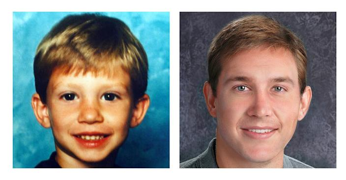 This two-picture combo of photos provided by the National Center for Missing & Exploited Children shows Victor Shoemaker Jr. when he was reported missing on May 1, 1994, at age 5 near Kirby, W.Va. , left, and an age-progression photo depicting Victor Shoemaker Jr. at age 24. Twenty years after Shoemaker vanished while playing with two cousins along a West Virginia mountainside, his parents hold the belief that their only child is still alive. The boy known as J.R. had been in the woods behind his grandfather's mobile home in Hampshire County when two cousins emerged without him on May 1, 1994. No trace of him was ever found. (AP Photo/National Center for Missing & Exploited Children)