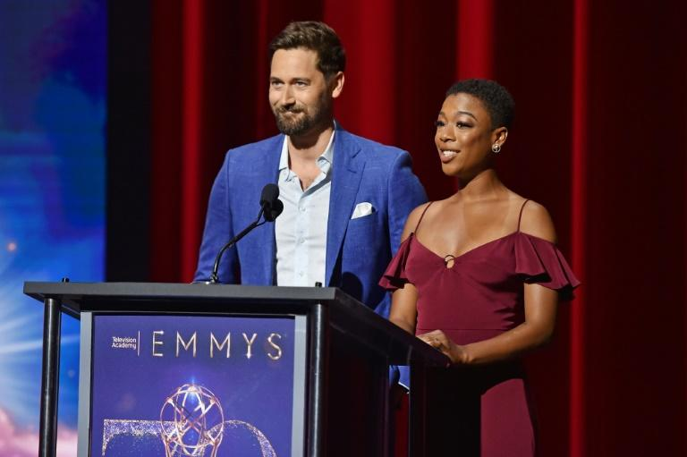 "Samira Wiley (R), nominated for best guest actress in ""The Handmaid's Tale,"" and Ryan Eggold (""New Amsterdam"") presented the nominations from the Television Academy in Los Angeles"