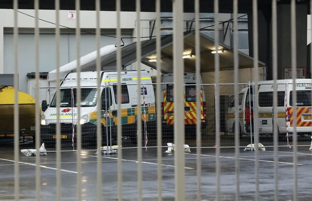 Ambulances are parked outside the Covid-19 field hospital created in the International Convention Centre in Cape Town (Nardus Engelbrecht/AP)