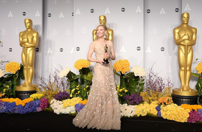 HOLLYWOOD, CA - MARCH 02: Actress Cate Blanchett, winner of Best Actress for 'Blue Jasmine, poses in the press room during the Oscars at Loews Hollywood Hotel on March 2, 2014 in Hollywood, California. (Photo by Jason Merritt/Getty Images)