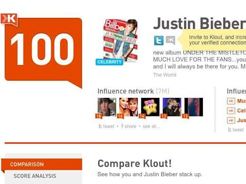 klout justin bieber