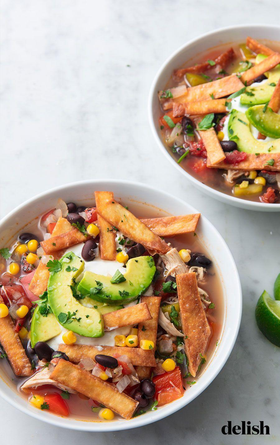 """<p>This chicken soup is the easiest way to warm up.</p><p>Get the recipe from <a href=""""https://www.delish.com/cooking/recipe-ideas/recipes/a51825/best-slow-cooker-chicken-tortilla-soup-recipe/"""" rel=""""nofollow noopener"""" target=""""_blank"""" data-ylk=""""slk:Delish"""" class=""""link rapid-noclick-resp"""">Delish</a>.</p>"""