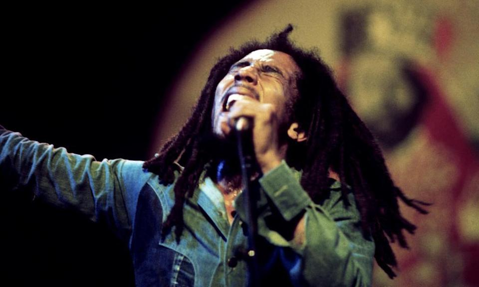 Bob Marley in concert at the Rainbow theatre, London, 4 June 1977.