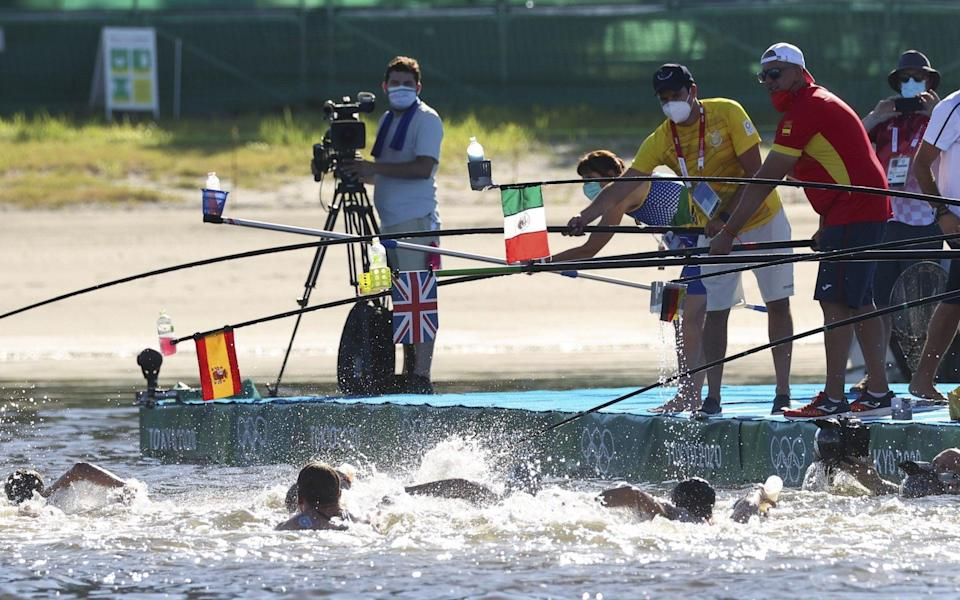 Drinks time during the 10km swim - REUTERS