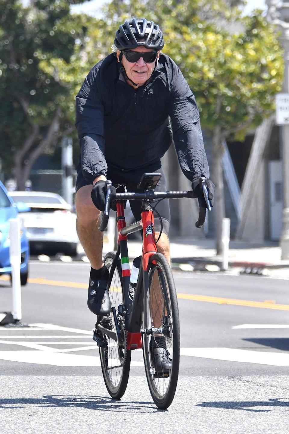 <p>Harrison Ford was spotted enjoying a workout during a bike ride with a friend in Santa Monica, California.</p>