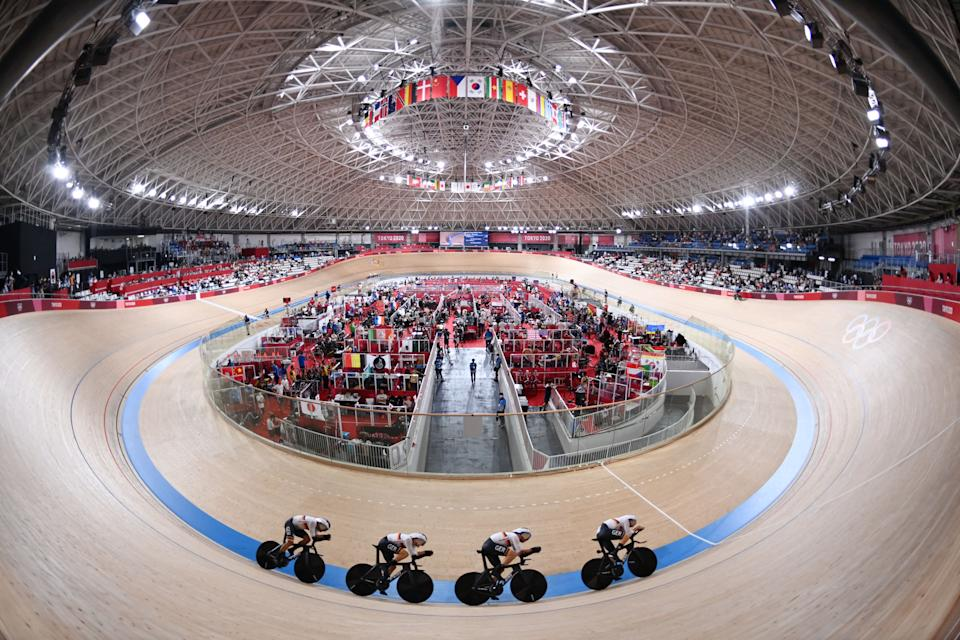 <p>Germany's Roger Kluge, Germany's Felix Gross, Germany's Domenic Weinstein and Germany's Theo Reinhardt compete for 5-6 place in the men's track cycling team pursuit finals during the Tokyo 2020 Olympic Games at Izu Velodrome in Izu, Japan, on August 4, 2021. (Photo by Peter PARKS / AFP) (Photo by PETER PARKS/AFP via Getty Images)</p>