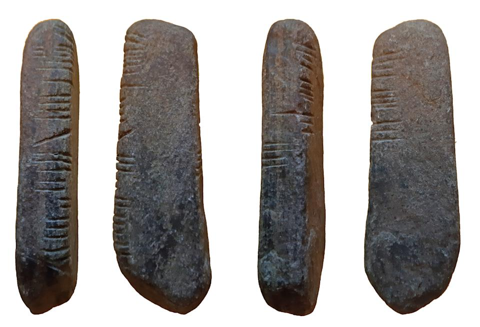 A sandstone rock with Ogham script has been found during lockdown (Birmingham Museums Trust/PA)