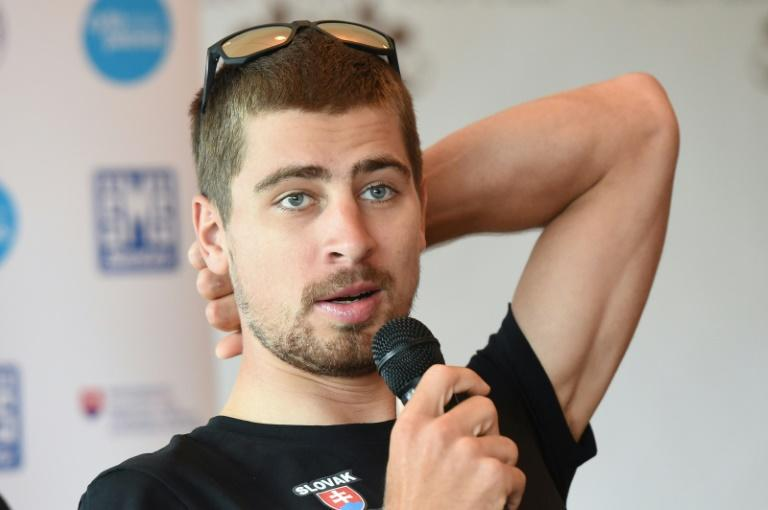 World champion Peter Sagan attends a press conference in Bergen, Norway on September 23, 2017, a day before men's road race at the UCI Cycling Road World Championships