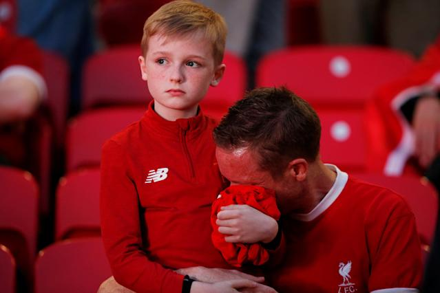 Soccer Football - Liverpool fans watch the Champions League Final - Liverpool, Britain - May 26, 2018 Liverpool fans react inside Anfield REUTERS/Andrew Yates