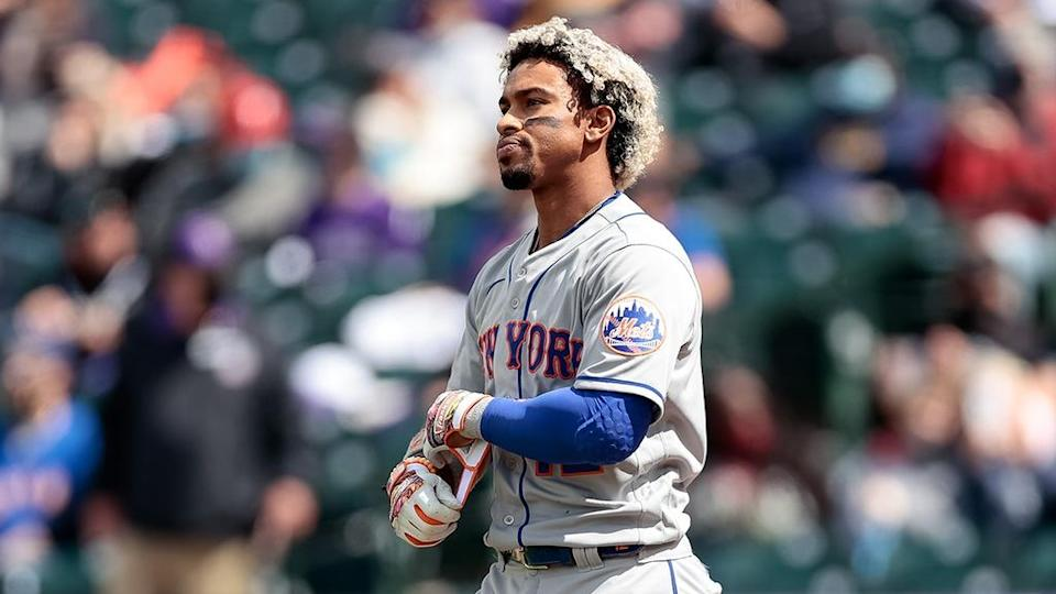 Francisco Lindor reacts after striking out against the Rockies - 2021