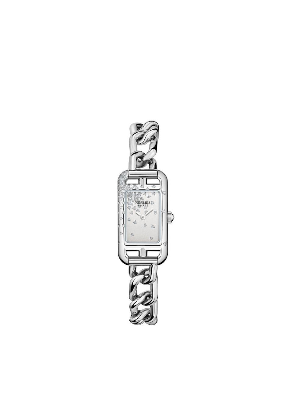 "<p><a class=""link rapid-noclick-resp"" href=""https://www.hermes.com/uk/en/product/nantucket-watch-17-x-23mm-W049591WW00/"" rel=""nofollow noopener"" target=""_blank"" data-ylk=""slk:SHOP NOW"">SHOP NOW</a></p><p>With a handsome face that resembles a 'square within a square', plus a bracelet made of chunky chain links, it's easy to see why the Hermès Nantucket watch has been considered a design classic for 30 years. The newest version is accented with a sprinkle of white diamonds, for a fashion-forward finish. </p><p>Nantucket steel watch, £5,550, <a href=""https://www.hermes.com/uk/en/product/nantucket-watch-17-x-23mm-W049591WW00/"" rel=""nofollow noopener"" target=""_blank"" data-ylk=""slk:Hermès"" class=""link rapid-noclick-resp"">Hermès</a></p>"