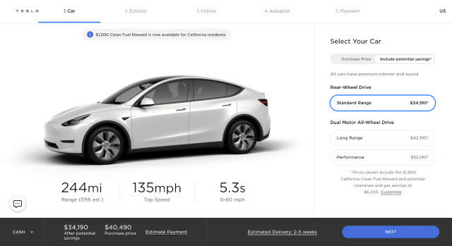 Tesla Model Y standard range rear-wheel drive version