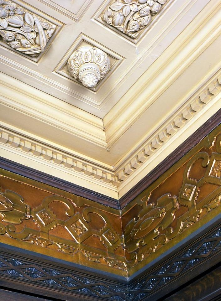 <p>Look up and you'll note that even the tiniest details in the ceiling have been meticulously restored.</p>