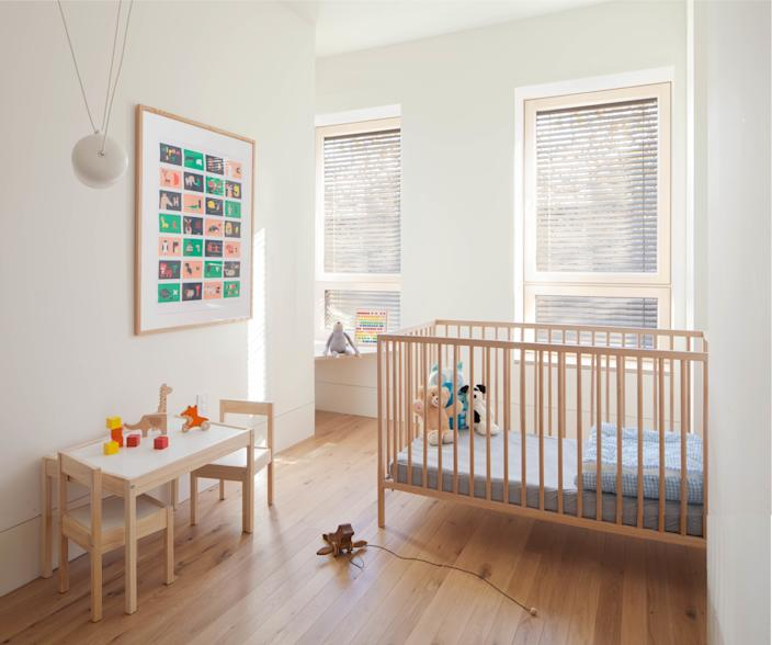 "<div class=""caption""> This sunny, clean-lined bedroom belongs to Ruth and Bobby's daughter, Lucia, now three. ""She was born just after we moved out of the house and started renovations,"" Ruth says. The fourth inhabitant of the passive house? The couple's nine-year-old cat, Mapi. </div> <cite class=""credit"">Peter Dressel 2018</cite>"