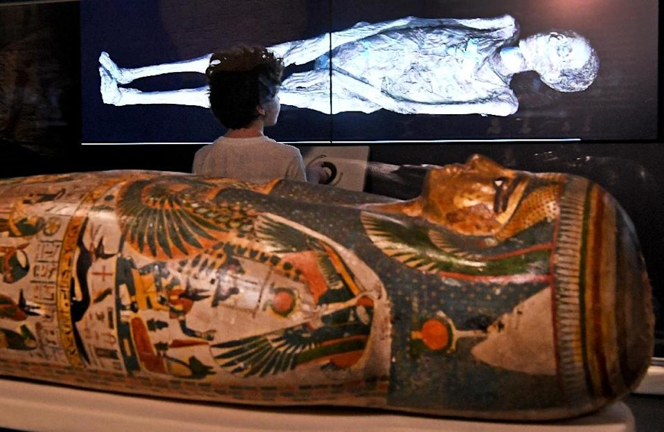 A young visitor looks at a 3D image of a CT scan of an Egyptian mummy, during a preview for a joint British-Australian exhibition in Sydney (AFP Photo/WILLIAM WEST)