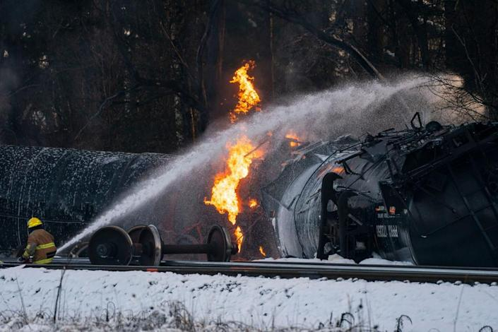 A BNSF Railway train carrying crude oil burns after it was derailed in Custer, Washington, on 22 December 2020.